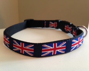 5/8 inch British English Union Jack Medium Dog Collar