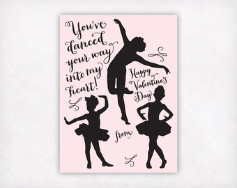 Printable Kids Valentine Card Girls Valentine Cards, Dance Valentines Day Card, Kids School Valentines, Dancer Classroom Valentines Download