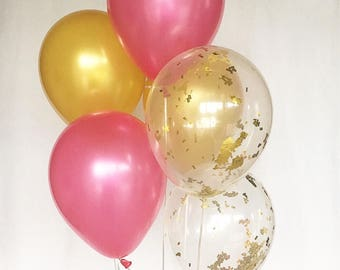 Hot Pink and Gold Confetti Latex Balloons Pink and Gold Party First Birthday Bridal Shower Balloons Baby Shower Pink and Gold Party Supplies
