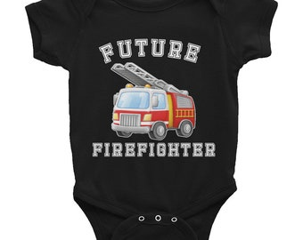 Future Firefighter Fireman Infant Bodysuit, Black, Pink or heather colors, Fire Truck fighter baby,  future fireman gifts, fireman baby girl