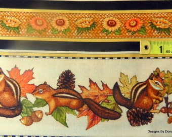 """One Half Yard Cut Quilt Fabric, """"Shades of Autumn"""" by Dan Morris for RJR, Chipmunks/Fall Related Items, Sewing-Quilting-Craft Supplies"""