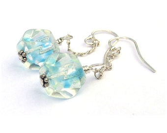 Something Blue Earrings for Bride Sterling Silver Dangle