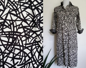 Graphic dress, S, M, cotton dress, modern dress, artsy dress, black white dress, shirt dress, cotton shirtdress