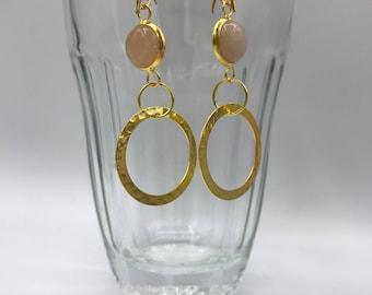 Rose quartz hoop earrings, chunky gold hoops, Rose gold rose quartz hoops, silver hoops, Rose quartz earrings,