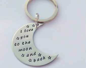 I Love you to the moon and back keyring - moon gift - moon keychain - gift from grandkids - gift for her - gift for him -  gift for mum