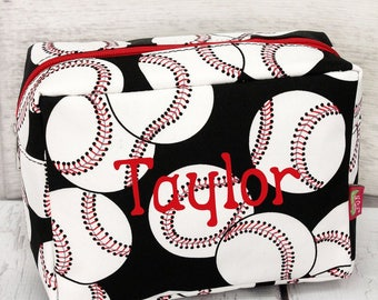 Baseball Cosmetic Case With Red  or Black Zipper Makeup Bag/ Travel Bag/ Gift for Teen/ Gift for Mom/ Mothers Day Gift
