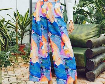 Fine Art Collection blue base water color fusion floral art painting pants