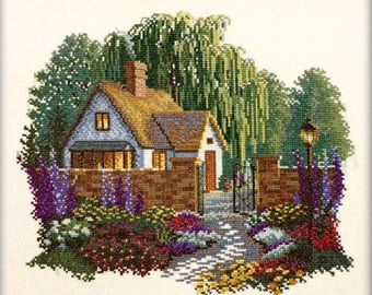Cross Stitch Kit A house with willows