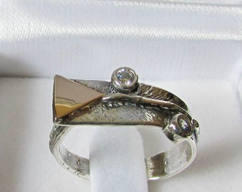 Silver gold ring, unique ring, women ring, mixed ring, handcrafted jewelry, two tone ring, cubic zirconia ring,rings for women