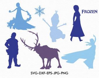 Frozen silhouettes svg, Disney princess frozen elsa silhouette clipart EPS png jpg files. Disney svg dxf for Silhouette Cameo or Cricut
