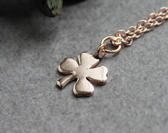 Clover Necklace, Four Leaf Clover Necklace, Rose Gold Clover Necklace, Irish Necklace, Clover Pendant, Dainty Necklace, Irish Gifts