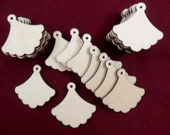 "Wood Earring Shapes Fan Earring 1 1/2"" x 1 1/2"" x 1/8"" Laser Cut - Jewelry Making - 24 Pieces"