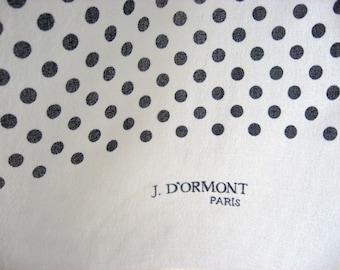 J D'Ormont Paris Polka Dot Scarf. French vintage quality white & black neck scarf. Silky diaphanous rockabilly retro neckerchief, hair wrap.