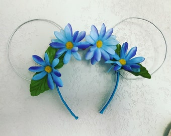 Wire mouse ears with flower crown