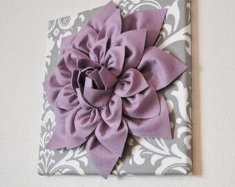 "Wall Art - Lilac Purple Dahlia on Gray and White Damask 12 x12"" Canvas Baby Wall Art  Nursery Wall Decor"