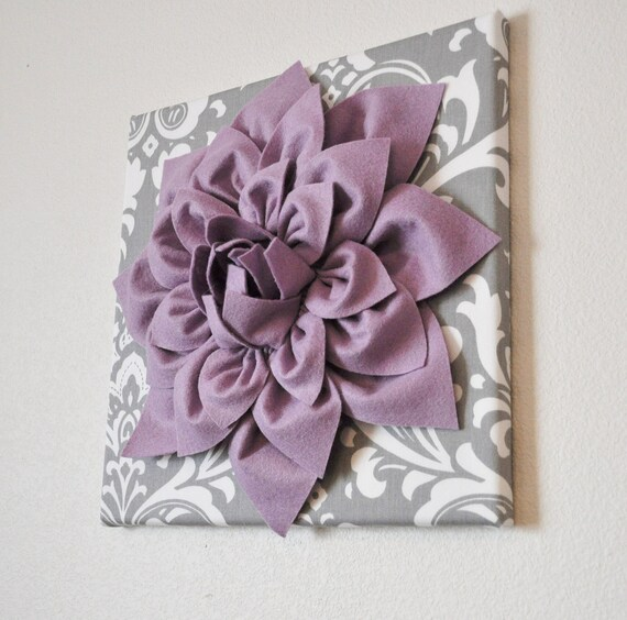 & Wall Art Lilac Purple Dahlia on Gray and White Damask 12