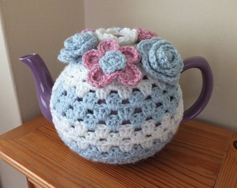 Floral Crochet Tea Cosy by Little Gems Crochet - fits 6 cup teapot. Colour and design can be personalised.