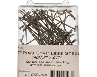 T Pins Blocking Pins T Pins Stainless Steel Lacis Blocking Pins 1.7 Inch T Pins 40 Pins per Package for wet or dry blocking Rust Proof