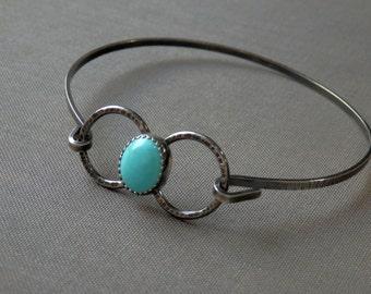 Turquoise bracelet / bangle bracelet / Sleeping Beauty turquoise / December birthstone / turquoise jewelry / sterling silver bracelet