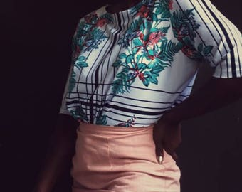 Floral Print Blouse with Geometric Lines