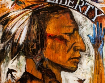 Buffalo Nickel Series Native American Indian Painting I Am Liberty