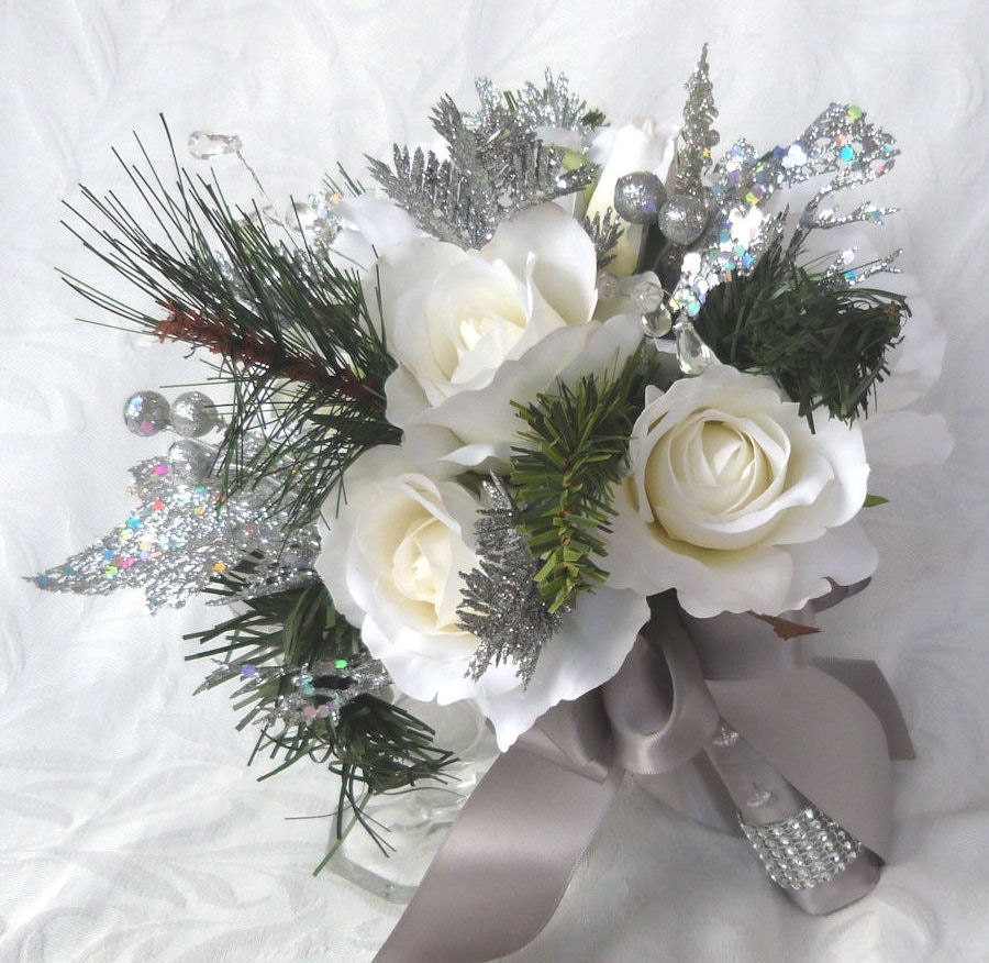 winter wedding flowers winter wedding bouquet and boutonniere white roses silver 1445