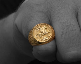 Gold Sovereign Ring, Man Gold Ring, Sterling Silver 925, Signet Ring, Man Signet Ring, Saint George Ring, Medieval Ring, Husband Gift