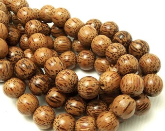 Palmwood Bead, 12mm, Round, Smooth, Natural Wood Beads, Large, 16 Inch Strand - ID 1418