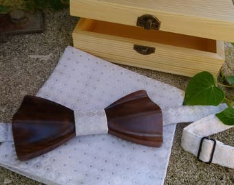 Mens gift : wood box bow tie 3D personalized with engraving, memory walnut wood box bowtie, rustic wedding