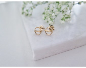 Open Circle Bar Studs,Gold Circle Ear Studs,earrings studs,Circle Post Earrings