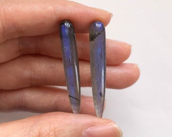 Rare Labradorite Smooth Long Spike Icicle Drops 6x35 mm One Pair J6853