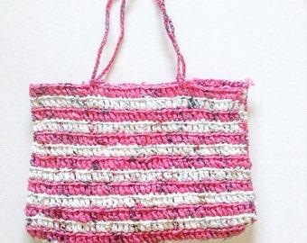 Zero Waste Eco Friendly Upcycled Plarn Crochet Tote / Handbag