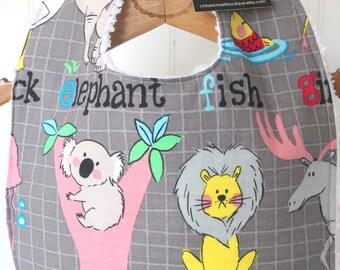 Baby Bib, Alphabet, Animals, toddler, feeding, baby shower gift