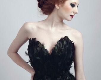 Black Swan Ballerina Feather Couture Corset Top