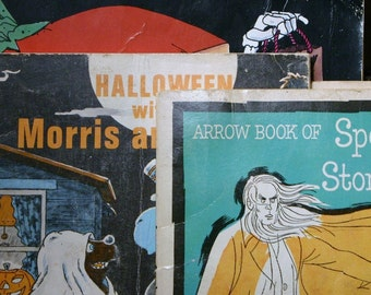 SET Vintage Halloween Childrens Books Including Morris and Boris Craft Workbook Spooky Stories Compilation Moose Bear Costumes Autumn Fall