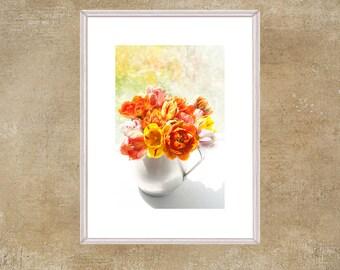 Orange Tulip Wall Art, Tulip Flower Print, French Country Decor, Flower Still Life Photography