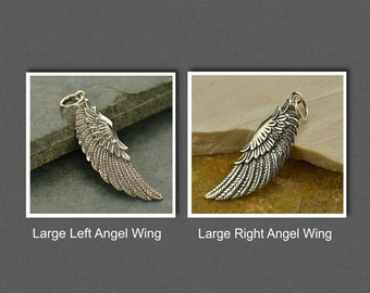 Sterling Silver Large Left or Right Angel Wing Charm