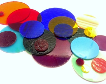 100 Precut Stained Glass Circles in Assorted Sizes and Colors, 1 Inch to 3 Inch