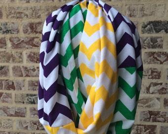 Mardi Gras scarf/ infinity scarf/ mardi gras gift/ parade accessory/ nola gift/ louisiana gift/ chevron scarf/ carnival/ maid gift