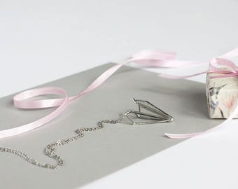 Paper airplane    . Airplane necklace. Love necklace. Gifts for Mom. Geometric necklace. Origami necklace