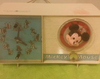Vintage General Electric Youth Electronics, Mickey Mouse Clock Radio, 1970's#