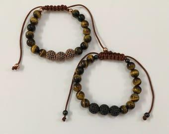 Handmade - Tiger Eye Stone & cubic zirconia beaded braided Bracelet
