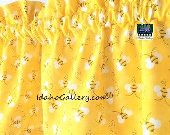 "Bee Valance Golden Yellow Honey Bees Bee Collectors Back to School Classroom Teachers Short 11"" x 42"" Wide Curtain Idaho Gallery"