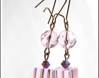 Pink glass cube earrings