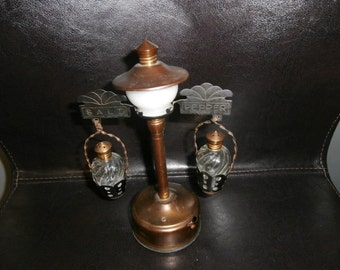 Salt & Pepper Shakers~ Antique Fred Roberts Company Brass Waiter's Light with Original matching Brass top