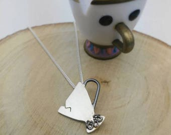 Disney inspired necklace, Beauty and the beast, Sterling silver necklace, Disney lovers, Cup necklace, Women necklace, Gifts for her, Chip
