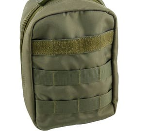 Tactical MOLLE First Aid Pouch with Bonus First Aid Pack, by MiliTactical (OD Green)