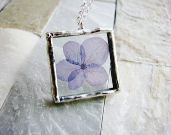 Hydrangea Soldered Glass Necklace, Purple Flower Necklace, Framed Glass Pendant Necklace, Pressed Flower Necklace, Soldered Jewelry