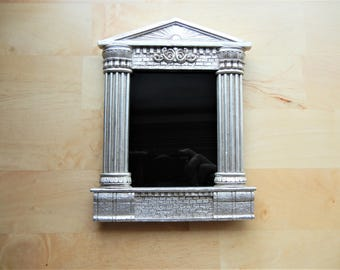 Temple-Styled Silver Scrying Mirror with Corinthian Columns
