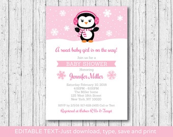 Cute Penguin Baby Shower Invitation / Penguin Baby Shower Invite / Winter Baby Shower / Pink / INSTANT DOWNLOAD Editable PDF A141
